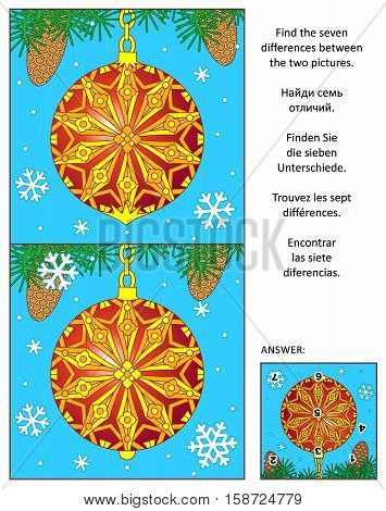 New Year or Christmas holiday visual puzzle: Find the seven differences between the two pictures with decorated red ball ornament. Answer included.