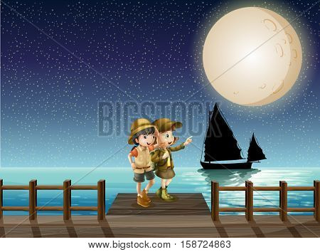 Two girls looking at fullmoon on the pier illustration