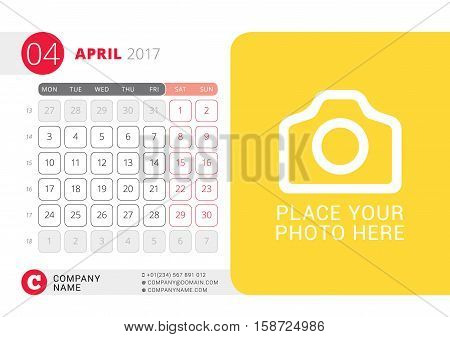 Desk Calendar For 2017 Year. April. Vector Design Print Template With Place For Photo. Week Starts O