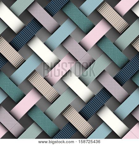 Seamless background pattern. Diagonal plaid pattern. Imitation of papers