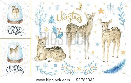 Merry christmas snowflakes and rabbits. Hand drawn bunny illustration for your design. xmas bunnies design elements isolated on white background.