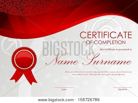 Certificate of completion template with gray digital pattern, red dynamic wavy vortex mosaic background and label. Vector illustration