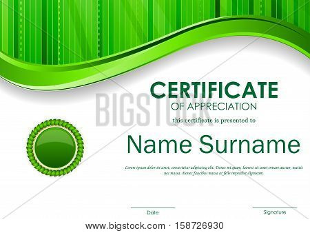 Certificate of appreciation template with green digital wavy stripe surface background and seal. Vector illustration