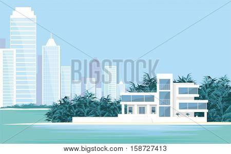 Abstract image of a large, beautiful country house on a background of a modern metropolis. Luxury Villa on the seafront, surrounded by palm trees. Vector background.