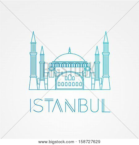 Hagia Sophia - the symbol of Turkey, Istanbul. Modern linear minimalist icon. One line sightseeing concept. Front view. Vector illustration