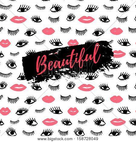 Beautiful Greeting Card, Fashion Poster. Hand Drawn Eye, Pink Lips Doodles Seamless Pattern In Retro