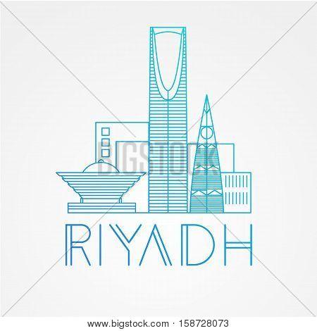 Kingdom tower - The symbol of Riyadh, Saudi Arabia. Modern linear minimalist icon. One line sightseeing concept. Front view. Vector illustration