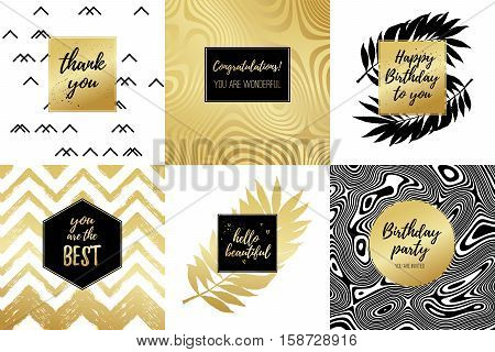 Happy Birthday to you Thank you Congratulations You are the best Hello beautiful fashion typography posters greeting cards set. Vector summer background with tropical palm tree leaves strips.