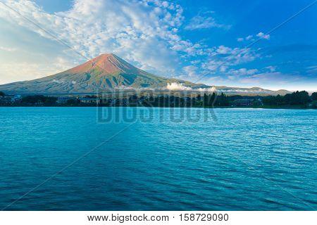 Kawaguchi Lake Mount Fuji View Morning Blue Sky H