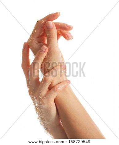 Female hands with scrub on white background