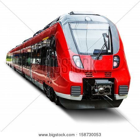 Red modern high speed passenger commuter train isolated on white background