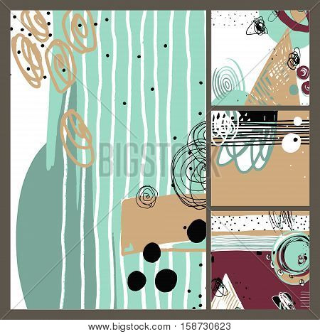 set of modern abstract contemporary painting in trendy hipster style collection to poster, greeting card design, printable wall art, home decor,  flyer, brochure, sticker, book, vector illustration