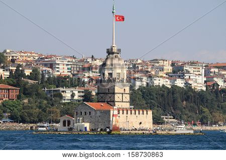 The famous Maiden Tower in Istanbul, Turkey