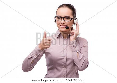 Helpdesk operator isolated on the white background