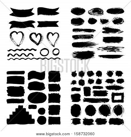 Mega Collection Of Hand Drawn Abstract Black Paint Brush Strokes, Ribbon,box, Wave, Heart, Round, Ov