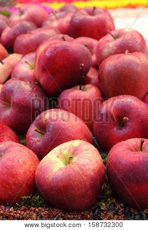 Red apples for sale in a greengrocery