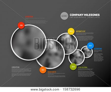 Vector Infographic Company Milestones Timeline Template with circle photo placeholders - dark version