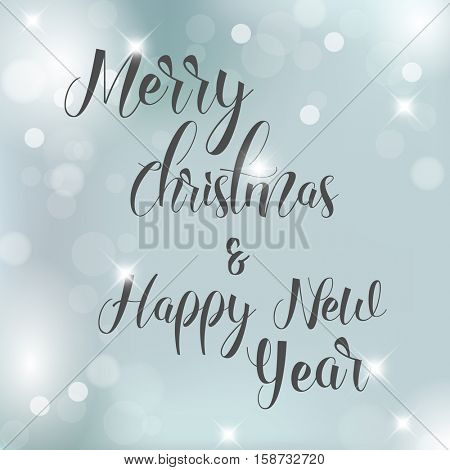 Vector Blue Christmas background with snowflakes and place for your text