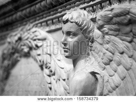 Bas relief from old building depicting angel