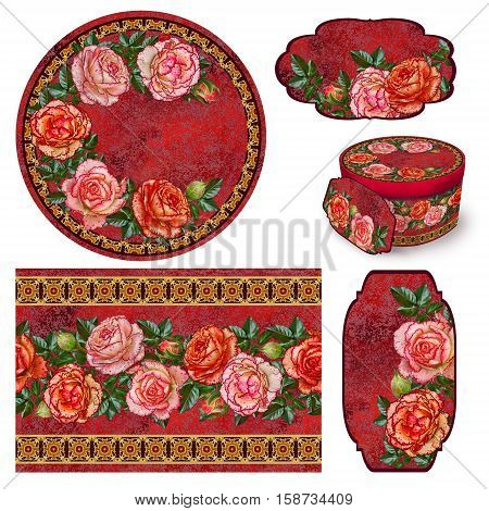 Set for packaging. Box round. Label. decoupage. Floral background. Flower border. Pattern. Mosaic. branch of bright orange roses old style gold braiding.
