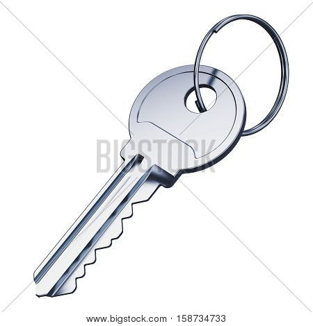 Shiny stainless steel metal key with ring isolated on white background