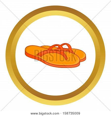 Slates vector icon in golden circle, cartoon style isolated on white background