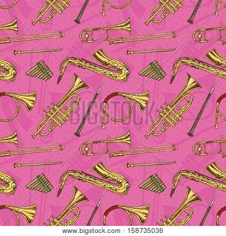 Seamless Pattern With Wind Musical Instruments on a Pink Background