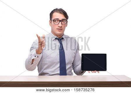 Handsome businessman working with tablet computer isolated on wh