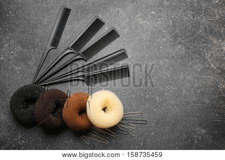 Accessory for hairstyle on grey background