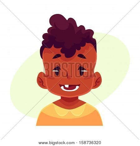 Little boy face expression, smiling facial expression, cartoon vector illustrations isolated on yellow background. blackd male kid emoji face smile, white teeth. Happy, glad, smiling face expression