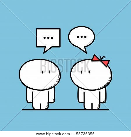 Cute man talks to a woman with chat symbols on the blue background. Conversation and relationships - cartoon vector illustration.