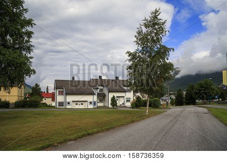 NORDFJORDEYD, NORWAY - JULY 5, 2016: This is modern part of the village in the valley of river Eidselva.