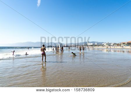Los Angeles USA - September 27 2015: People are walking on Venice beach California.