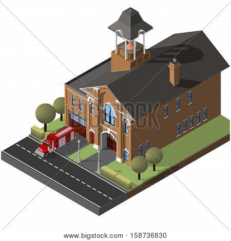 A vector illustration of an isometric firehouse and firetruck. Isometric firehouse and firetruck. Isometric Fire engine and firehouse.