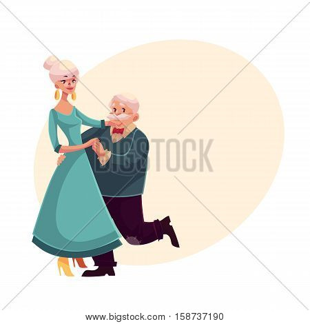 Old, senior couple dancing together, cartoon style vector illustration isolated on yellow background with place for text. Full height portrait of old lady and gentleman dancing romantically