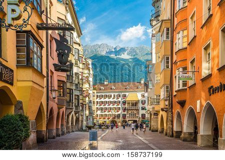 INNSBRUCK,AUSTRIA - SEPTEMBER 4,2016 - Road to Gold Roof museum in Innsbruck. Innsbruck is the capital city of Tyrol in western Austria. It is located in the Inn valley.