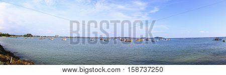 Fishing boats in Weligama Bay, Sri Lanka
