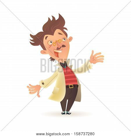 Stereotypic bushy haired mad professor wearing lab coat and stiped sweater, cartoon illustration isolated on white background. Crazy comic scientist, mad professor, chemist, doctor