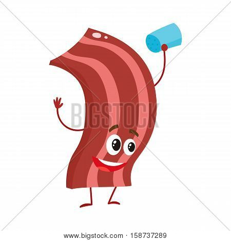 Funny roasted, fried, grilled bacon strip character, cartoon style vector illustration isolated on white background. Cute crispy bacon character with eyes, legs, and a wide smile salting itself