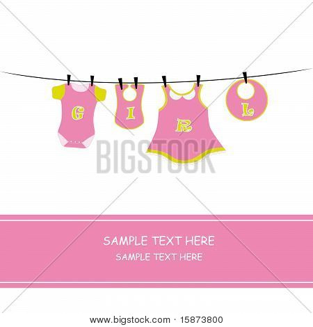 Baby girl arrival announcement card baby girl clothes. poster