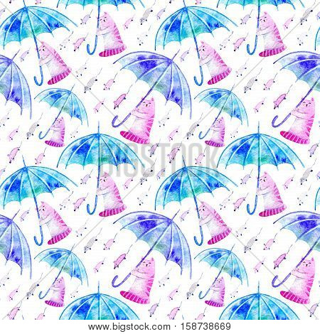 Seamless pattern with cat, mouse and umbrella. Funny picture. Watercolor hand drawn illustration. White background.