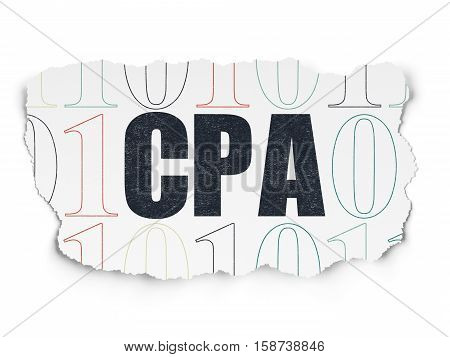 Finance concept: Painted black text CPA on Torn Paper background with  Binary Code
