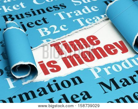 Finance concept: red text Time Is money under the curled piece of Blue torn paper with  Tag Cloud, 3D rendering