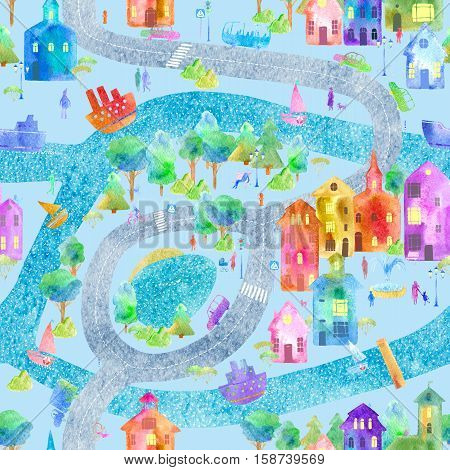 Seamless pattern with city map,road,park,river,lake and boat.Colorful house.Urban life postcard. Watercolor hand drawn illustration.Blue background.