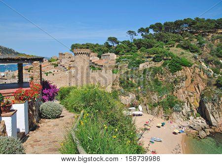 popular Village of Tossa de Mar at Costa Brava,Catalonia,Spain