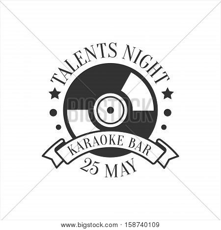 Talents Night Karaoke Premium Quality Bar Club Monochrome Promotion Retro Sign Vector Design Template. Black And White Illustration With Music Related Objects Silhouettes With Text.