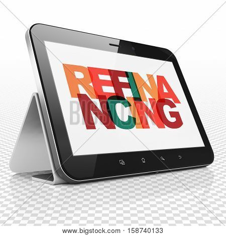 Finance concept: Tablet Computer with Painted multicolor text Refinancing on display, 3D rendering