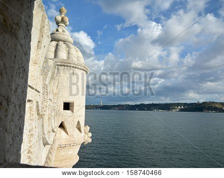 River Tagus and beautiful clouds seen from Belem Tower turret near Lisbon