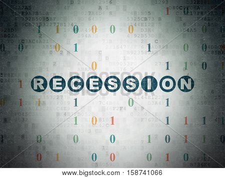 Finance concept: Painted blue text Recession on Digital Data Paper background with Binary Code