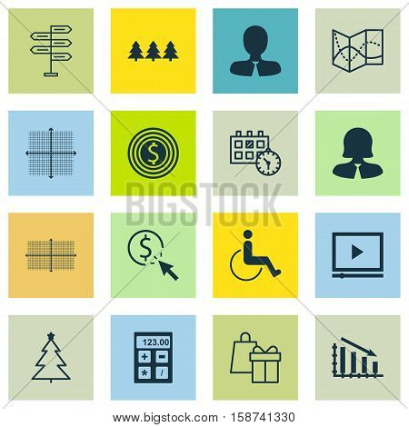 Set Of 16 Universal Editable Icons. Can Be Used For Web, Mobile And App Design. Includes Icons Such As Financial, Video Player, Business Goal And More.